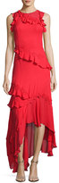 Sachin + Babi Lake Sleeveless Silk Georgette Ruffle Gown