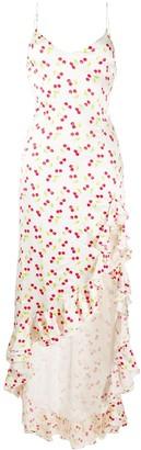 Caroline Constas Cherry-Print Ruffle Dress