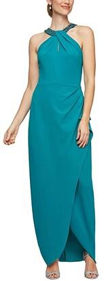 Alex Evenings Long Halter Neckline Dress (Teal) Women's Dress