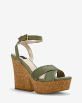 White House Black Market Nubuck Cork Wedge Sandals