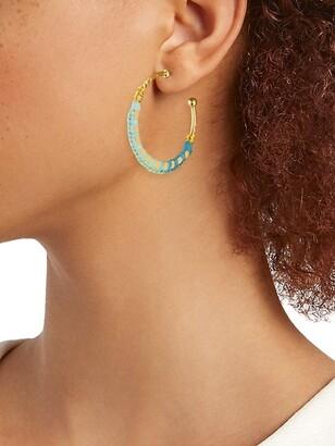 Gas Bijoux Bako 24K Goldplated & Raffia-Wrapped Hoop Earrings