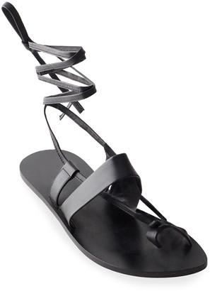 Tibi Reid Toe-Ring Ankle-Wrap Flat Sandals