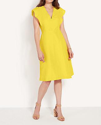 Ann Taylor Petite Ruffle Sleeve V-Neck Flare Dress
