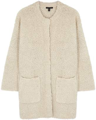 Eileen Fisher Cream Wool-blend Boucle Cardigan