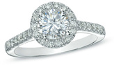 Zales 1 CT. T.W. Certified Diamond Frame Engagement Ring in Platinum (H/SI2)