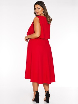 Quiz Curve V Neck Overlay Dip Hem Midi Dress