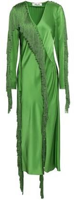 Diane von Furstenberg Wrap-effect Fringed Satin Midi Dress
