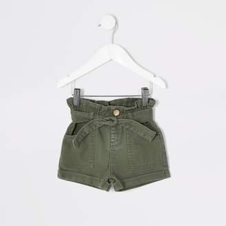 River Island Mini girls Khaki paperbag denim shorts