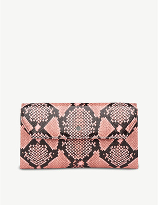 LK Bennett Dora snakeskin-print leather clutch