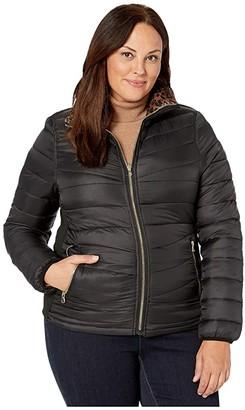 YMI Jeanswear Snobbish Plus Size Reversible Packable Puffer Leopard Jacket (Black/Leopard) Women's Clothing