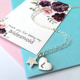 Zelda Wong Bridesmaid Initial Heart Necklace