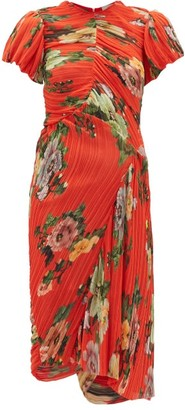 Preen by Thornton Bregazzi Meggy Floral-print Plisse-georgette Dress - Red Multi