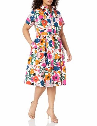 Donna Morgan Women's Plus Size Short Sleeve Stretch Cotton Poplin Shirt Dress