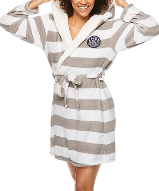 U.S. Polo Assn. Women's Sleep Robes WHT - White & Gray Stripe Plush Hooded Robe - Women