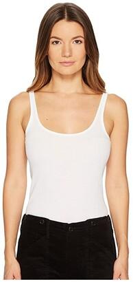 Vince Scoop Neck Tank Top (White) Women's Sleeveless