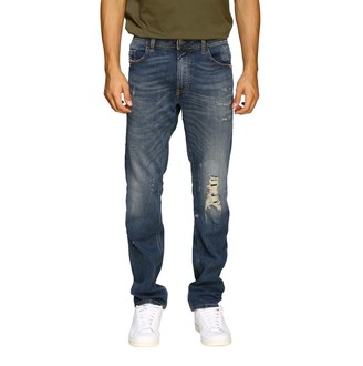 Diesel Thommer Slim Skinny Stretch Jeans In Used Denim With 5 Pockets And Breaks