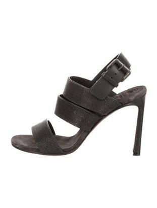 Brunello Cucinelli Suede Crystal Embellishments Slingback Sandals Grey