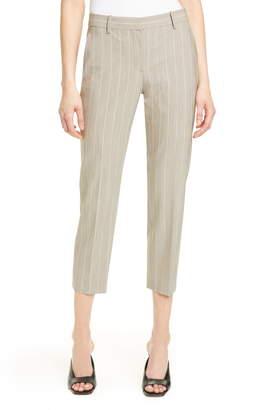 Theory Treeca 2 Pinstripe Stretch Wool Crop Trousers
