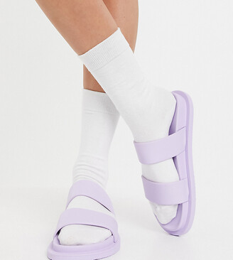ASOS DESIGN Wide Fit Friday jelly flat sandals in lilac