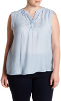 Blu Pepper Embroidered Sleeveless Blouse (Plus Size)