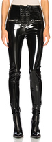 Unravel Latex Lace Up Seam Pants in Black.