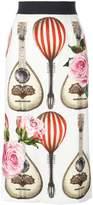 Dolce & Gabbana mandolin and rose print skirt
