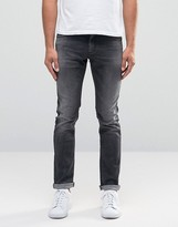 Sisley Super Skinny Distressed Jeans in Washed Black
