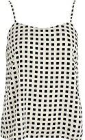 River Island Womens Black and white square print cami top
