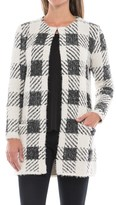 August Silk Chevron Printed Feathered Cardigan Sweater (For Women)