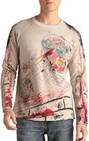 Ed Hardy Mens Crew Neck Studded Sweater Graffiti And Fire - White