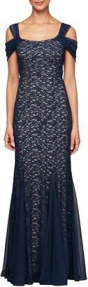 Alex Evenings Cold Shoulder Fit & Flare Evening Gown
