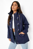 Thumbnail for your product : boohoo Rubberised Toggle Detail Rain Mac
