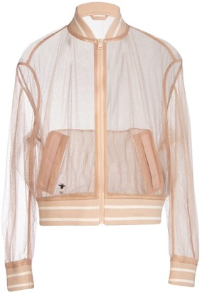 Christian Dior Metallic Thread Fishnet Bomber Jacket
