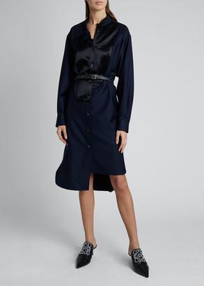 Loewe Asymmetric Knee-Length Bibbed Shirtdress with Belt
