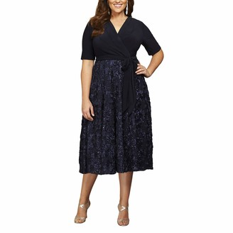 Alex Evenings Women's Plus Size Tea Length Dress with Rosette Skirt