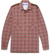 Junya Watanabe Patchwork Checked Cotton-flannel Shirt - Red