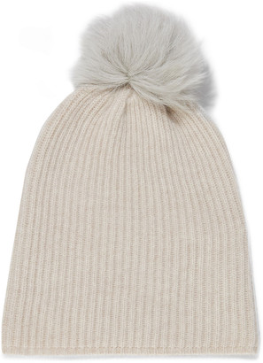 Karl Donoghue Pompom-embellished Shearling And Cashmere Beanie