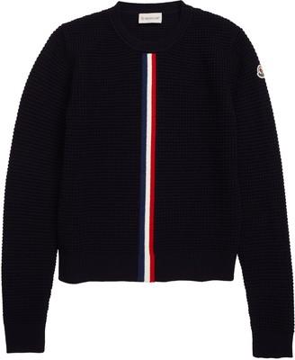 Moncler Crewneck Waffle Stitch Wool Sweater