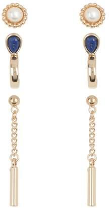 Halogen Imitation Pearl, Huggie & Drop Stud Earrings - Pack of 3