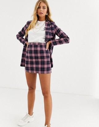 Heartbreak tailored mini skirt in navy and pink check