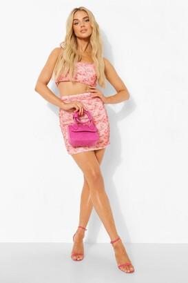 boohoo Printed Mesh Ruched Crop & Mini Skirt