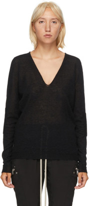 Rick Owens Black Alpaca V-Neck Sweater