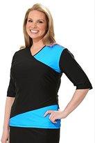 HydroChic Plus Size Wrap Swim Shirt in Sea Blue/Black
