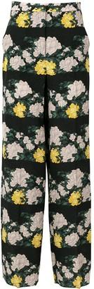 Rochas rose print trousers