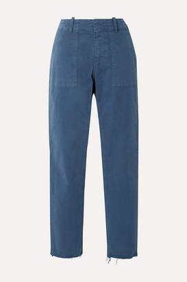 Nili Lotan Jenna Cropped Frayed Stretch-cotton Twill Straight-leg Pants - Blue