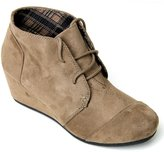 Forever Link Womens Round Toe Lace Up Wedge Heels Suede Ankle Boots Booties (7.5, )