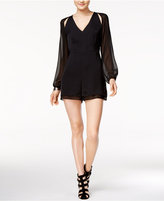 Bar III Sheer-Sleeve Romper, Only at Macy's