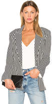 Norma Kamali Vertical Stripe Double Breasted Jacket in Black & White. - size S (also in )