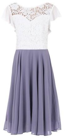 Dorothy Perkins Womens Jolie Moi Purple Contrast Lace Skater Dress, Purple