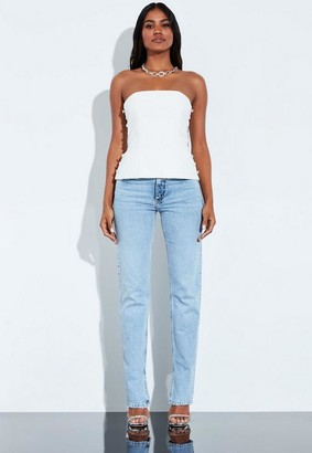Missguided White Button Detail Structured Bustier Top